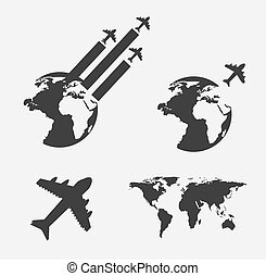 airplane with earrth over white background vector...
