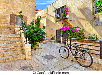 Street and stonrd houses at jewish quarter in Jerusalem -...