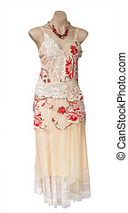 Evening Dress on Mannequin isolated with clipping path...