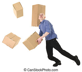 Man and cardboard - Man with cardboard is stumbled on a...
