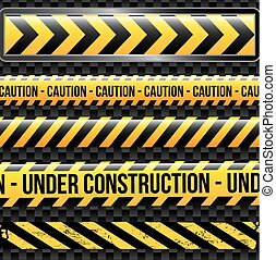 under construction ribbons over black background vector...