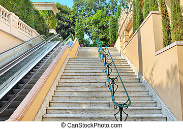 Staircase and escalator in Monte Carlo, Monaco.