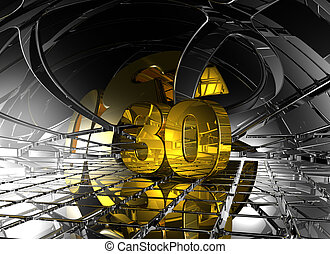 number thirty in abstract futuristic space - 3d illustration