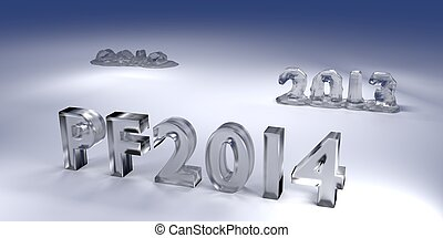 3D Melted Icy Text PF 2014 - Rendered 3D Glossy Melted Icy...