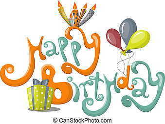 Happy Birthday - Vector greeting card with Happy Birthday...