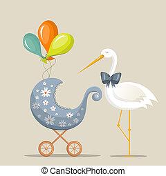 """It's a boy - Vector retro greeting card """"It's a boy"""""""