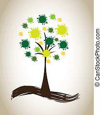 tree natural design over beige background vector...