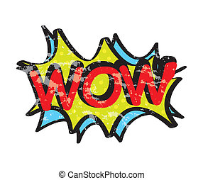 pop art wow - pop art with wow text over white background...