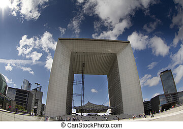 la grand arche, la defence - fisheye shot of the grand arche...