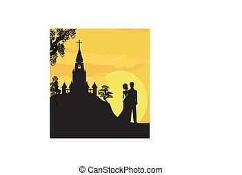 Sunshine church and  wedding couple