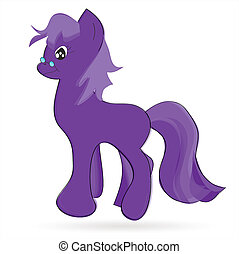 pony - Illustration of walking cute violet pony
