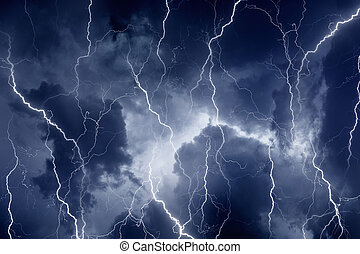 Lightnings in stormy sky - Nature force background -...