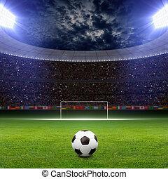 Soccer stadium - Soccer statium, soccer ball on green...