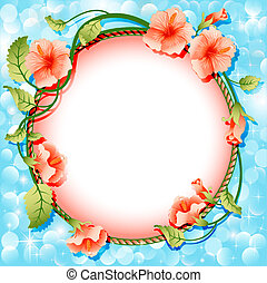 background frame with flowers in circle