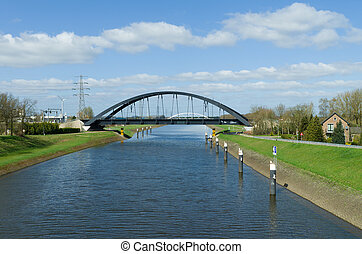 railway bridge - arch railway bridge over a canal