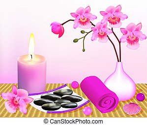 background for spa with orchid and candle - illustration...