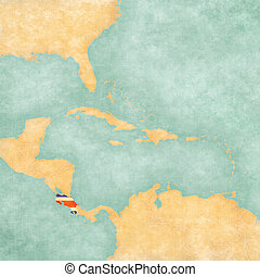 Map of Caribbean - Costa Rica Vintage Series - Costa Rica...