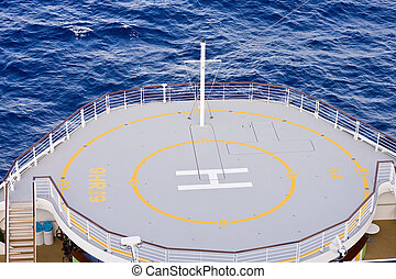 Helicopter Pad on Ships Bow - A helicopter landing pad on...