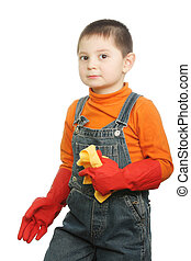 Little boy with duster