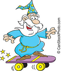 Cartoon wizard riding a skateboard