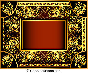 vintage background frame with gold ornaments and a grid