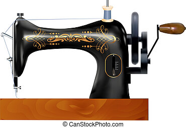 of an old sewing machine on a white background -...