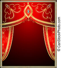 background with gold ornament on the curtains - illustration...