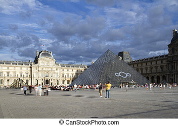 louvre and pyramid - the louve and famous pyramid in paris,...
