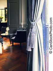 Curtains in classic interior - Curtains decoration in...