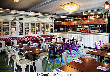 stylish Italian restaurant - interior of stylish Italian...