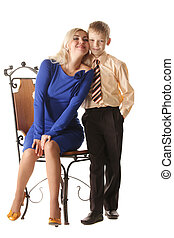 Portrait of mummy and son - Traditional studio portrait of...