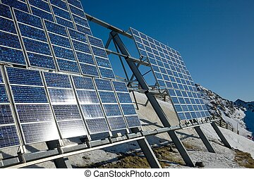 Solar panels - Big cluster of solar panels on a mountain...