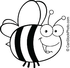 Black and White Cute Bee Cartoon Mascot Character