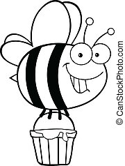Outlined Bee With A Honey Bucket