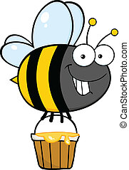 Cute Bee With A Honey Bucket