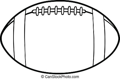 Outlined American Football Ball - Black And White American...