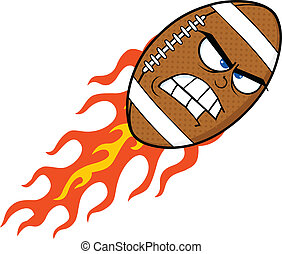 Angry Flaming Football Ball - Angry Flaming American...