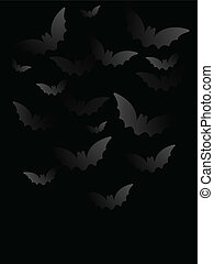 Vector - Halloween Bat Black Paper Background