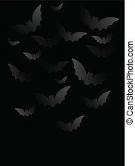 Vector - Halloween Bat Black Paper Background - Halloween...