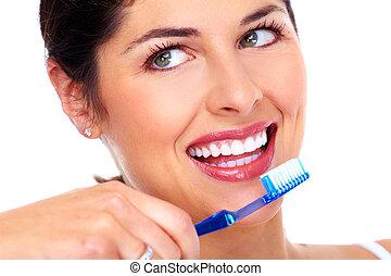 bonito, mulher, escova de dentes