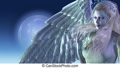 Moonlight Angel - A beautiful angel in moonlight - 3d render...