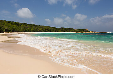 Beautiful Golden Sandy Beach at Half Moon Bay Antigua in the...