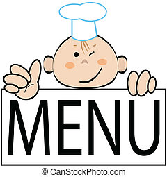 Funny cook with menu, vector  - Funny cook, vector