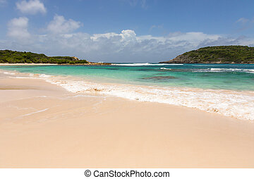 Beautiful Golden Sandy Beach at Half Moon Bay Antigua on...