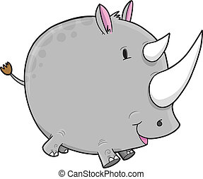 Safari Rhino Vector Illustration Art