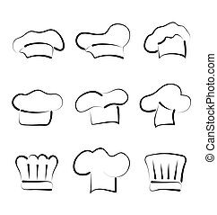 Set of chef hats isolated on white background, sketch style...