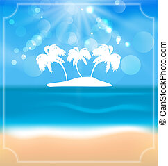 Holiday summer card with beautiful beach and palms