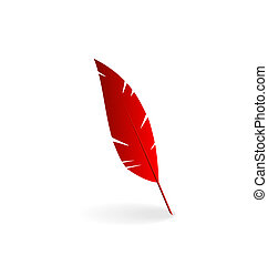 Red feather isolated on white background - Illustration red...