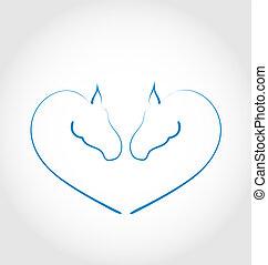 dos, caballos, estilizado, corazón, forma