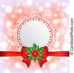 Christmas card with flower poinsettia - Illustration...